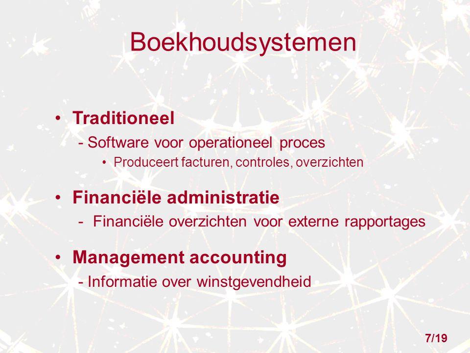 Boekhoudsystemen Traditioneel - Software voor operationeel proces Produceert facturen, controles, overzichten Financiële administratie -Financiële ove