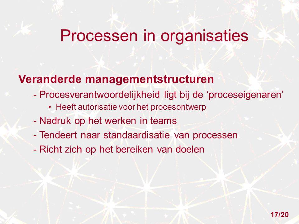 Processen in organisaties Veranderde managementstructuren - Procesverantwoordelijkheid ligt bij de 'proceseigenaren' Heeft autorisatie voor het procesontwerp - Nadruk op het werken in teams - Tendeert naar standaardisatie van processen - Richt zich op het bereiken van doelen 17/20