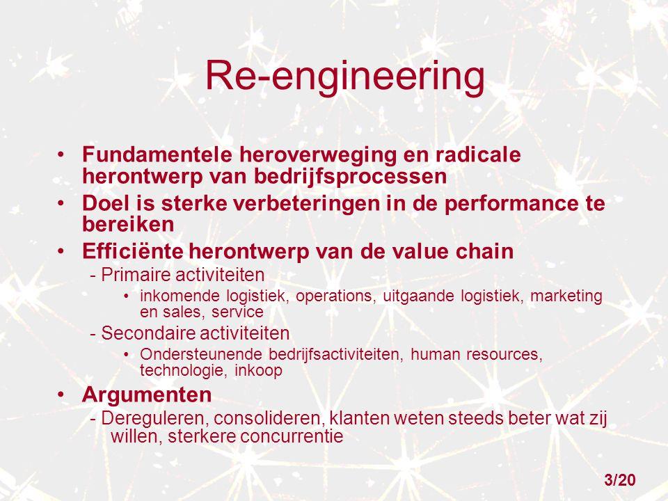 Re-engineering Fundamentele heroverweging en radicale herontwerp van bedrijfsprocessen Doel is sterke verbeteringen in de performance te bereiken Efficiënte herontwerp van de value chain - Primaire activiteiten inkomende logistiek, operations, uitgaande logistiek, marketing en sales, service - Secondaire activiteiten Ondersteunende bedrijfsactiviteiten, human resources, technologie, inkoop Argumenten - Dereguleren, consolideren, klanten weten steeds beter wat zij willen, sterkere concurrentie 3/20