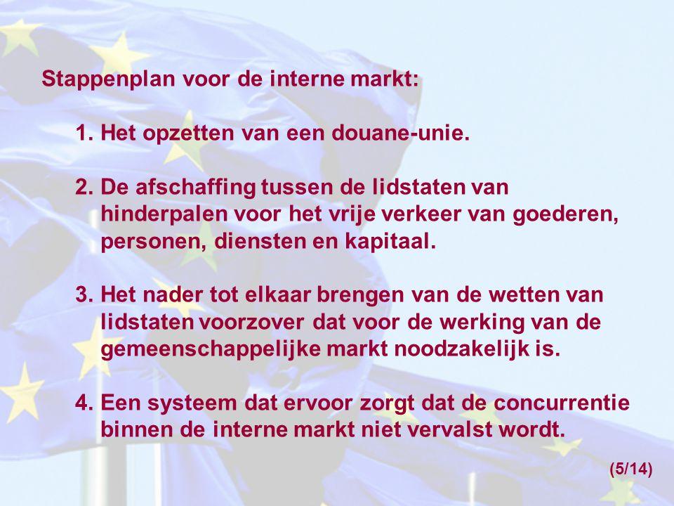 Stappenplan voor de interne markt: 1.Het opzetten van een douane-unie.
