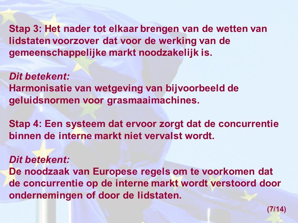 Stap 3: Het nader tot elkaar brengen van de wetten van lidstaten voorzover dat voor de werking van de gemeenschappelijke markt noodzakelijk is.