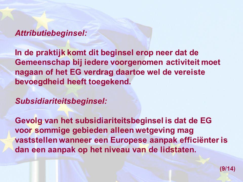 Attributiebeginsel: In de praktijk komt dit beginsel erop neer dat de Gemeenschap bij iedere voorgenomen activiteit moet nagaan of het EG verdrag daartoe wel de vereiste bevoegdheid heeft toegekend.