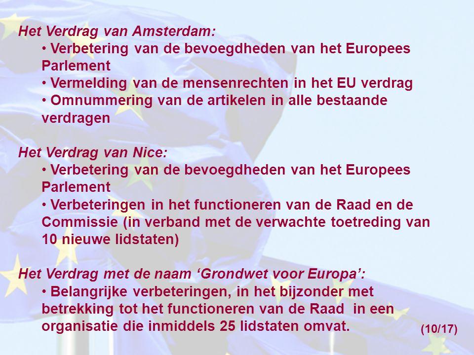 Het Verdrag van Amsterdam: Verbetering van de bevoegdheden van het Europees Parlement Vermelding van de mensenrechten in het EU verdrag Omnummering va