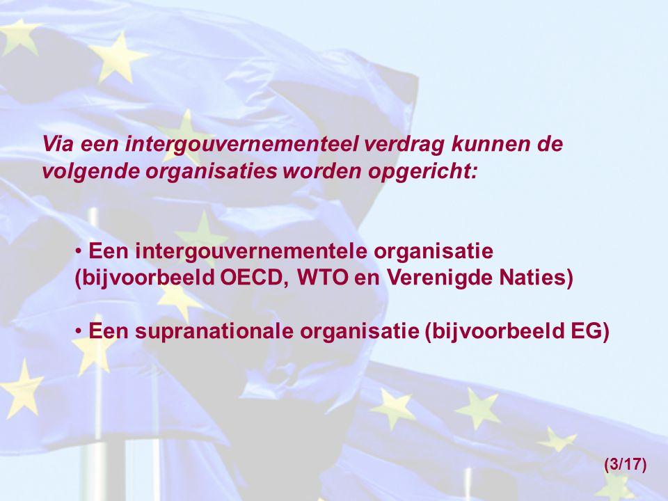 Via een intergouvernementeel verdrag kunnen de volgende organisaties worden opgericht: Een intergouvernementele organisatie (bijvoorbeeld OECD, WTO en