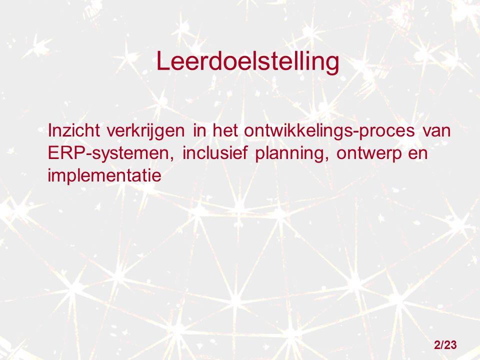 Leerdoelstelling Inzicht verkrijgen in het ontwikkelings-proces van ERP-systemen, inclusief planning, ontwerp en implementatie 2/23