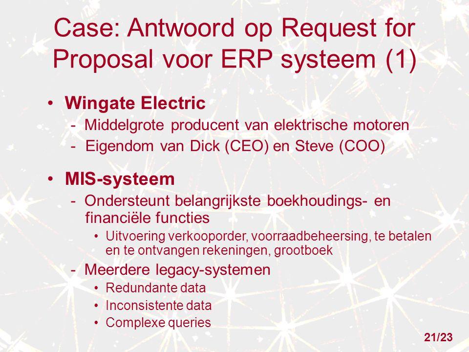 Case: Antwoord op Request for Proposal voor ERP systeem (1) Wingate Electric - Middelgrote producent van elektrische motoren -Eigendom van Dick (CEO)