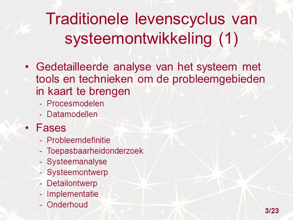 Traditionele levenscyclus van systeemontwikkeling (1) Gedetailleerde analyse van het systeem met tools en technieken om de probleemgebieden in kaart t