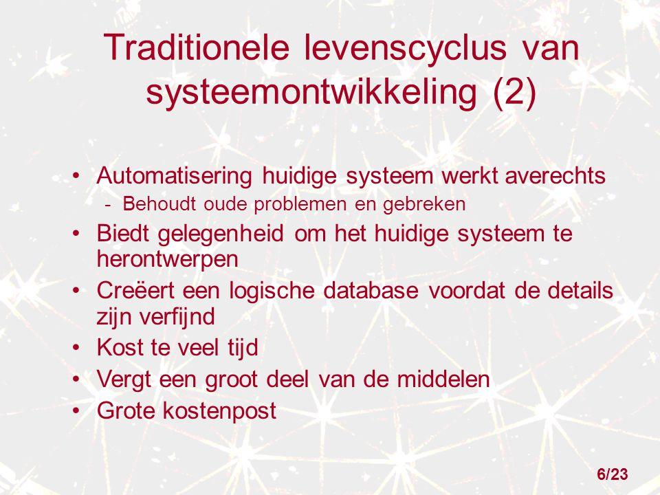 Traditionele levenscyclus van systeemontwikkeling (2) Automatisering huidige systeem werkt averechts - Behoudt oude problemen en gebreken Biedt gelege