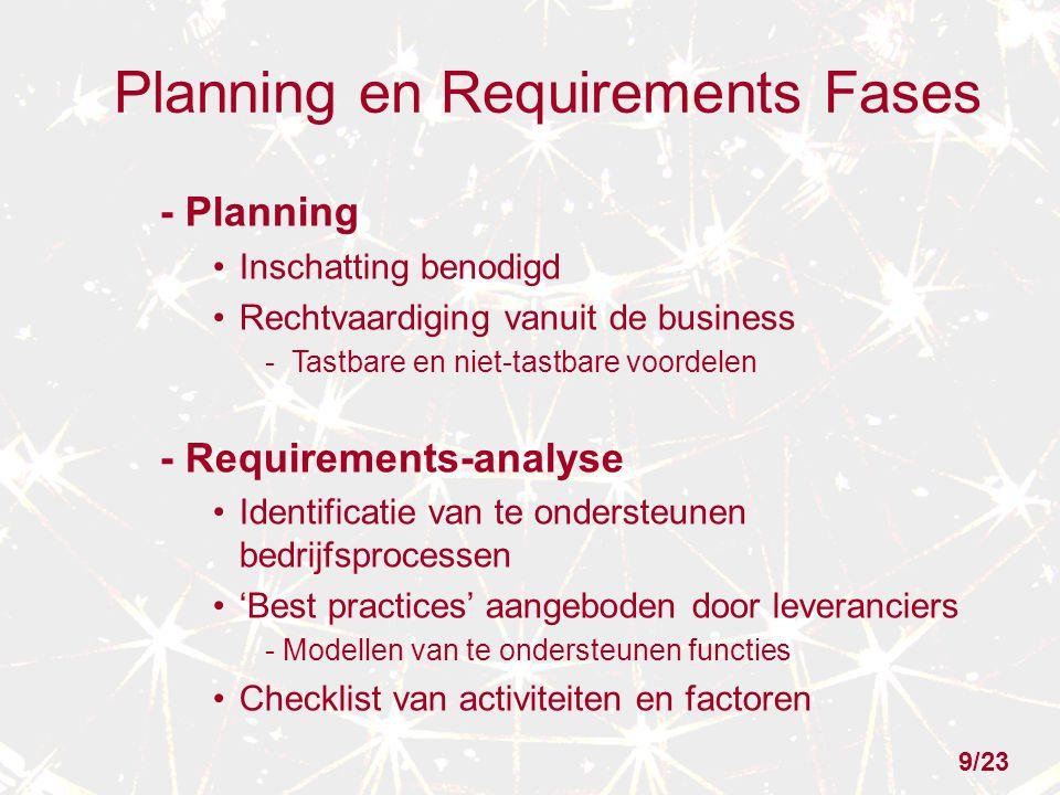 Planning en Requirements Fases - Planning Inschatting benodigd Rechtvaardiging vanuit de business -Tastbare en niet-tastbare voordelen - Requirements-