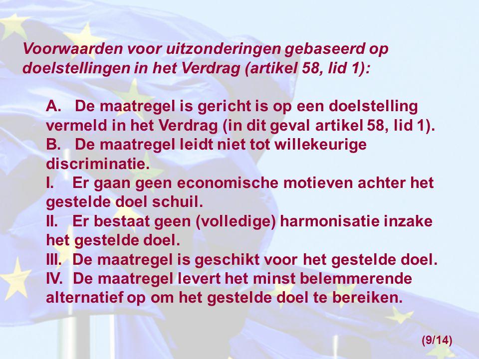 Voorwaarden voor uitzonderingen gebaseerd op doelstellingen in het Verdrag (artikel 58, lid 1): A.