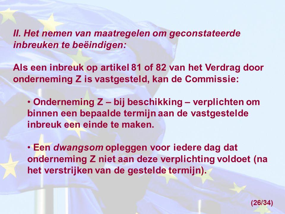 II. Het nemen van maatregelen om geconstateerde inbreuken te beëindigen: Als een inbreuk op artikel 81 of 82 van het Verdrag door onderneming Z is vas