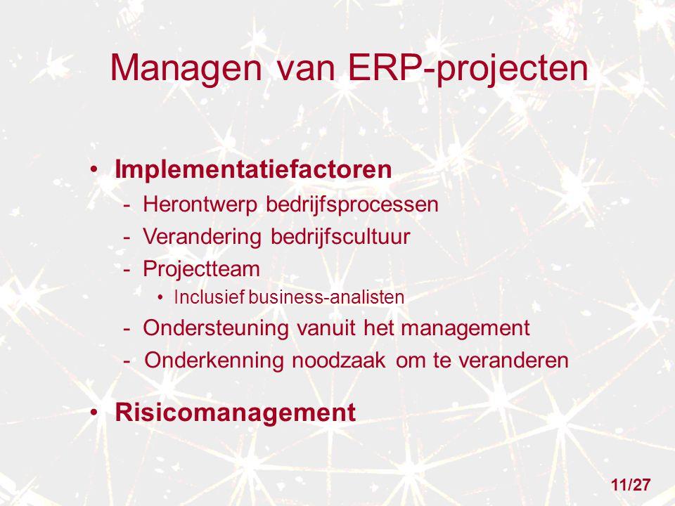 Managen van ERP-projecten Implementatiefactoren - Herontwerp bedrijfsprocessen - Verandering bedrijfscultuur - Projectteam Inclusief business-analisten - Ondersteuning vanuit het management -Onderkenning noodzaak om te veranderen Risicomanagement 11/27