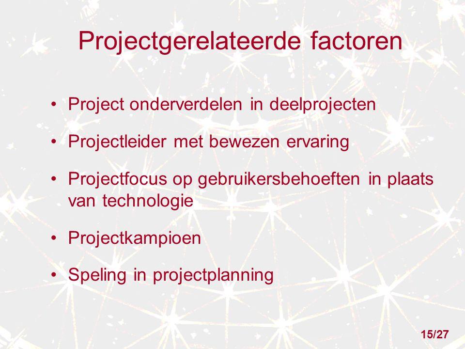 Projectgerelateerde factoren Project onderverdelen in deelprojecten Projectleider met bewezen ervaring Projectfocus op gebruikersbehoeften in plaats van technologie Projectkampioen Speling in projectplanning 15/27