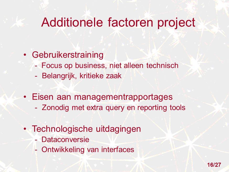 Additionele factoren project Gebruikerstraining - Focus op business, niet alleen technisch -Belangrijk, kritieke zaak Eisen aan managementrapportages