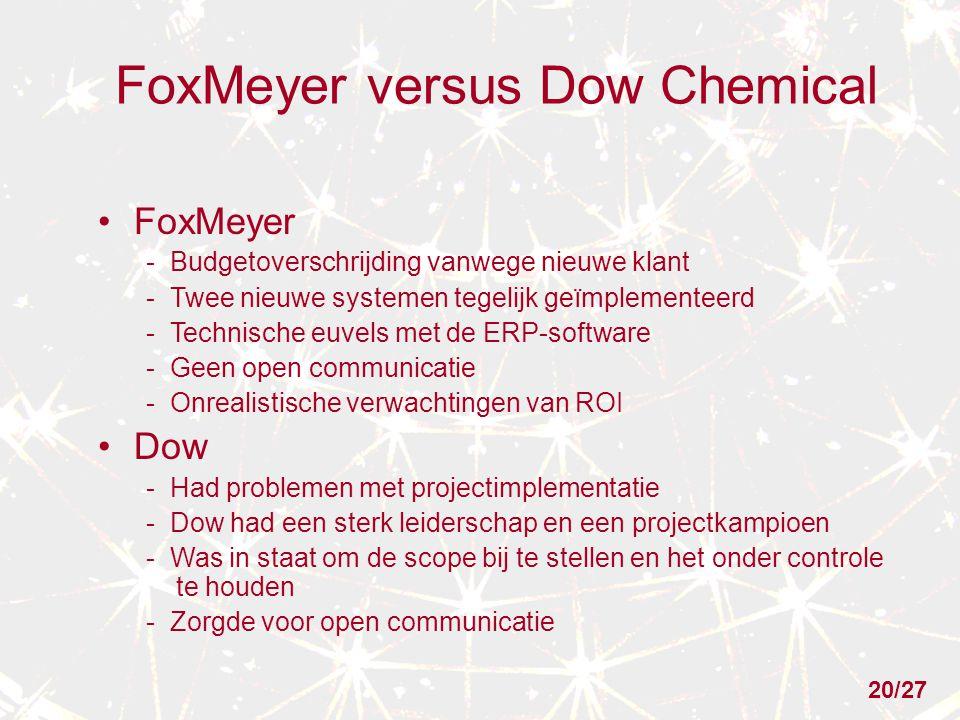 FoxMeyer versus Dow Chemical FoxMeyer - Budgetoverschrijding vanwege nieuwe klant - Twee nieuwe systemen tegelijk geïmplementeerd - Technische euvels met de ERP-software - Geen open communicatie - Onrealistische verwachtingen van ROI Dow - Had problemen met projectimplementatie - Dow had een sterk leiderschap en een projectkampioen - Was in staat om de scope bij te stellen en het onder controle te houden - Zorgde voor open communicatie 20/27