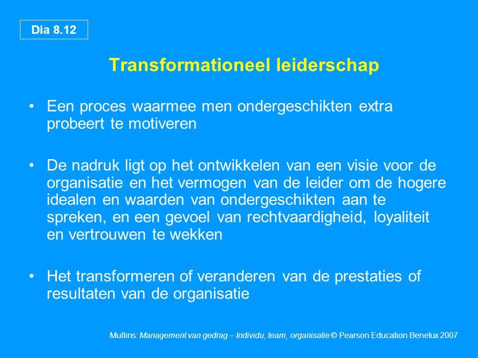 Dia 8.12 Mullins: Management van gedrag – Individu, team, organisatie © Pearson Education Benelux 2007 Transformationeel leiderschap Een proces waarme