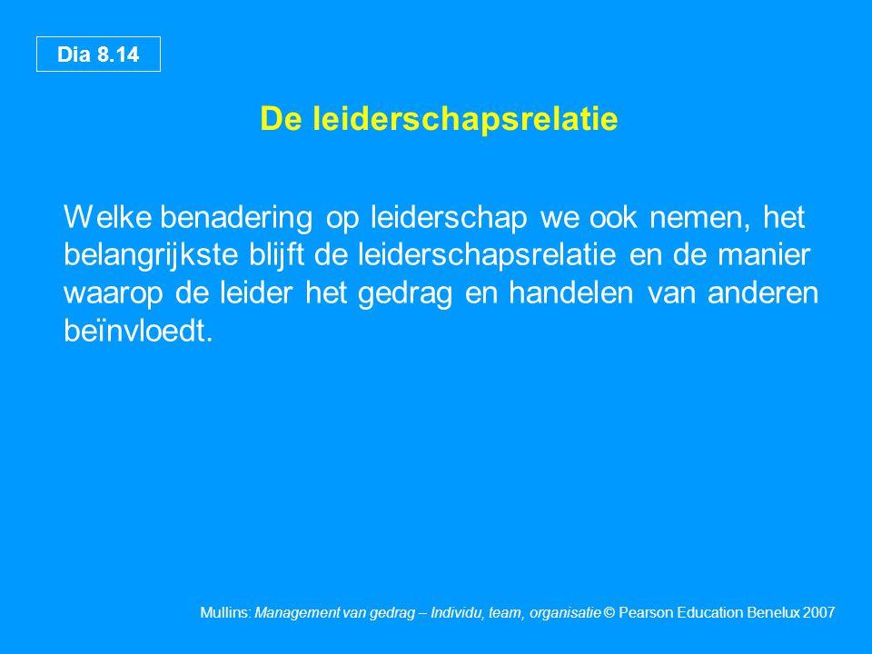 Dia 8.14 Mullins: Management van gedrag – Individu, team, organisatie © Pearson Education Benelux 2007 De leiderschapsrelatie Welke benadering op leid