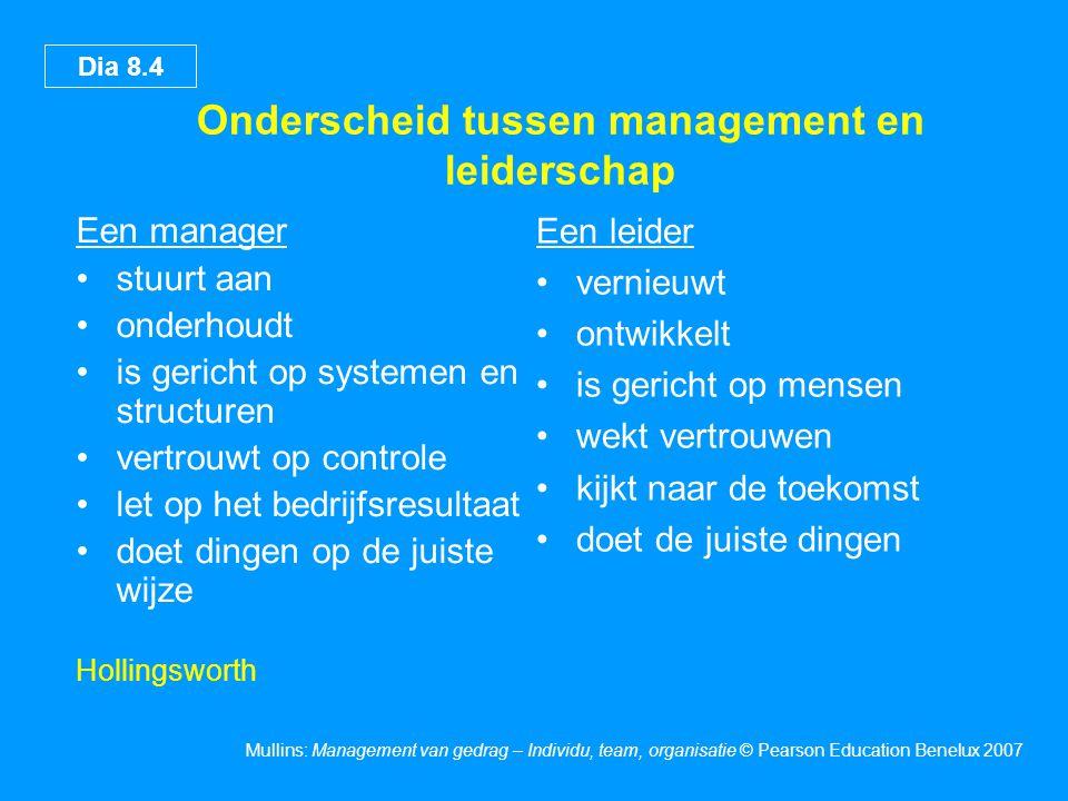 Dia 8.4 Mullins: Management van gedrag – Individu, team, organisatie © Pearson Education Benelux 2007 Onderscheid tussen management en leiderschap Een