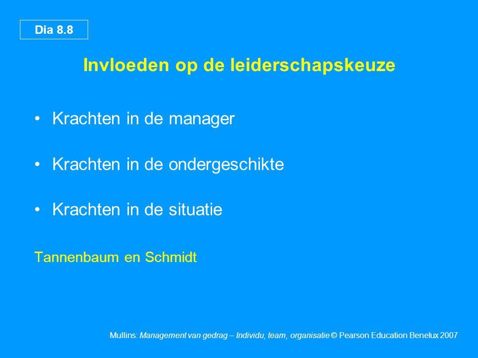 Dia 8.9 Mullins: Management van gedrag – Individu, team, organisatie © Pearson Education Benelux 2007 Contingentiemodellen van leiderschap Enkele van de belangrijkste modellen: Gunstigheid van de leiderschapssituatie (Fiedler) Kwaliteit en acceptatie van het besluit van de leider (Vroom en Yetton) De pad-doeltheorie (House) Taakbereidheid van ondergeschikten (Hersey en Blanchard)