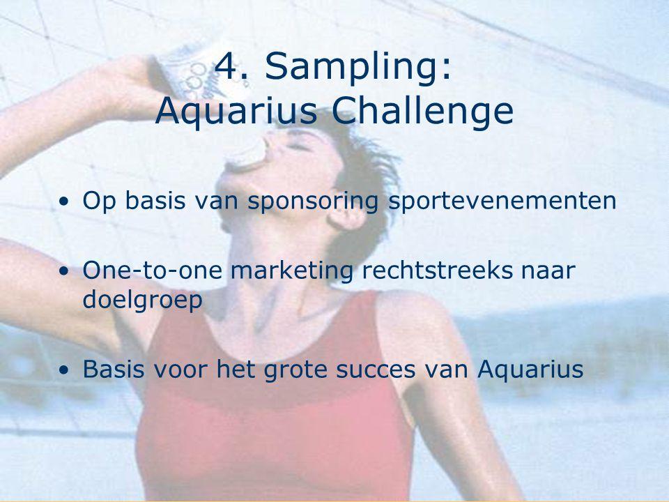 4. Sampling: Aquarius Challenge Op basis van sponsoring sportevenementen One-to-one marketing rechtstreeks naar doelgroep Basis voor het grote succes