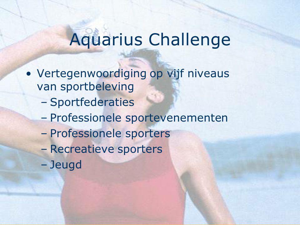 Aquarius Challenge Vertegenwoordiging op vijf niveaus van sportbeleving –Sportfederaties –Professionele sportevenementen –Professionele sporters –Recr