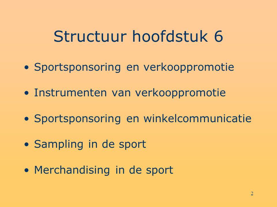 2 Structuur hoofdstuk 6 Sportsponsoring en verkooppromotie Instrumenten van verkooppromotie Sportsponsoring en winkelcommunicatie Sampling in de sport