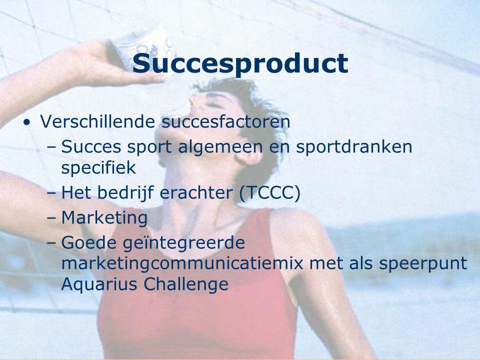 Succesproduct Verschillende succesfactoren –Succes sport algemeen en sportdranken specifiek –Het bedrijf erachter (TCCC) –Marketing –Goede geïntegreer