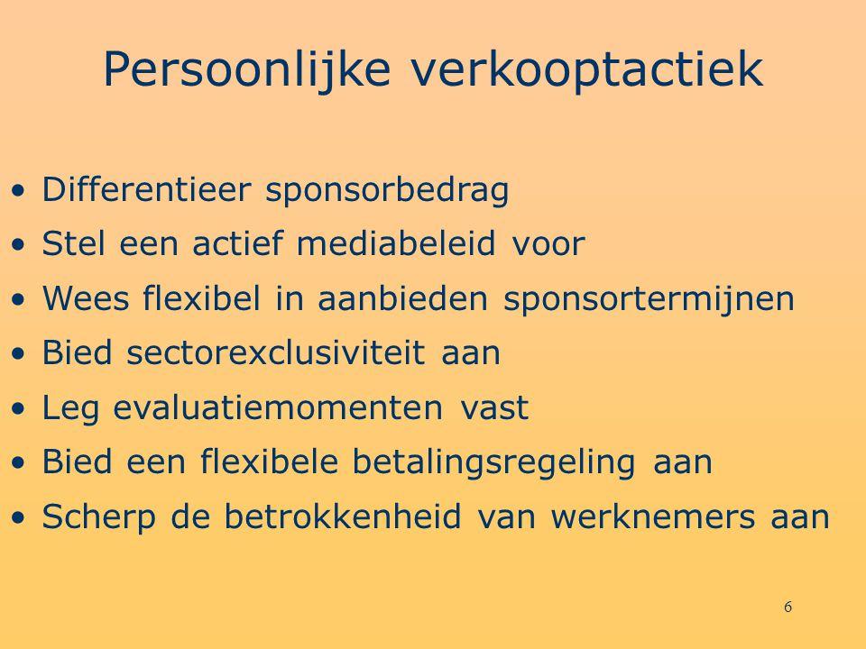 6 Persoonlijke verkooptactiek Differentieer sponsorbedrag Stel een actief mediabeleid voor Wees flexibel in aanbieden sponsortermijnen Bied sectorexcl