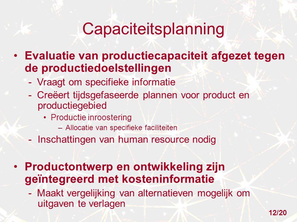 Capaciteitsplanning Evaluatie van productiecapaciteit afgezet tegen de productiedoelstellingen - Vraagt om specifieke informatie - Creëert tijdsgefase