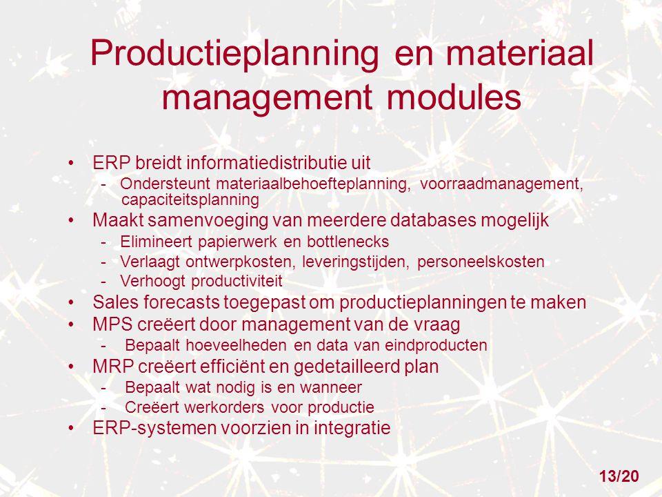 Productieplanning en materiaal management modules ERP breidt informatiedistributie uit - Ondersteunt materiaalbehoefteplanning, voorraadmanagement, ca