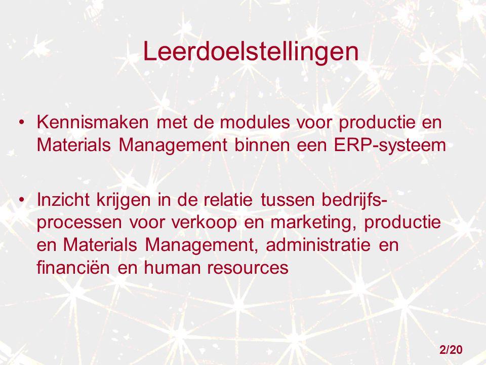 2/20 Leerdoelstellingen Kennismaken met de modules voor productie en Materials Management binnen een ERP-systeem Inzicht krijgen in de relatie tussen