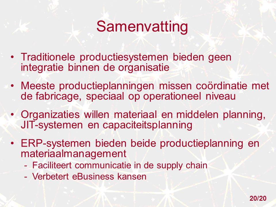 Samenvatting Traditionele productiesystemen bieden geen integratie binnen de organisatie Meeste productieplanningen missen coördinatie met de fabricag