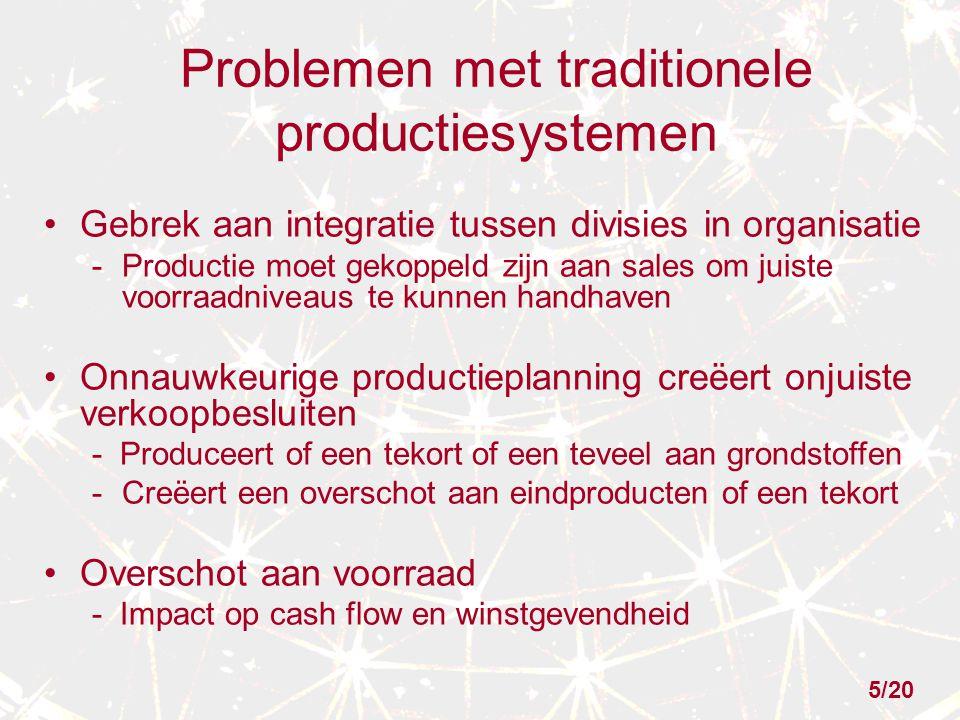 Problemen met traditionele productiesystemen Gebrek aan integratie tussen divisies in organisatie -Productie moet gekoppeld zijn aan sales om juiste v