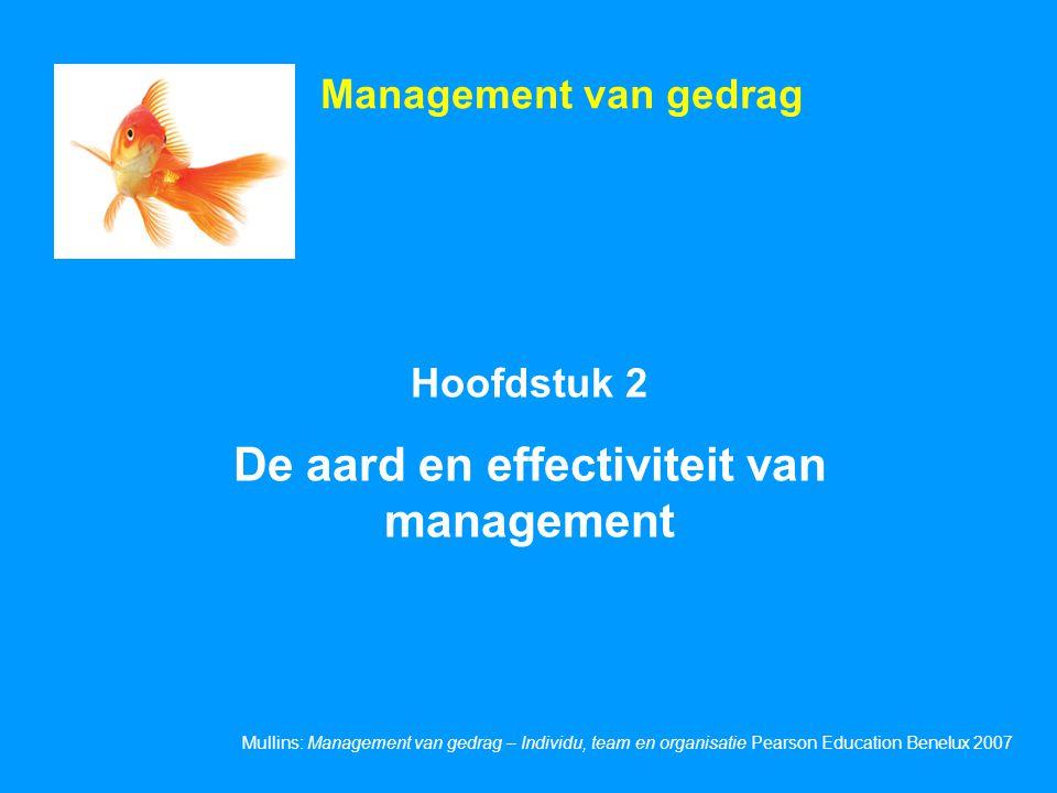Mullins: Management van gedrag – Individu, team en organisatie Pearson Education Benelux 2007 Hoofdstuk 2 De aard en effectiviteit van management Mana