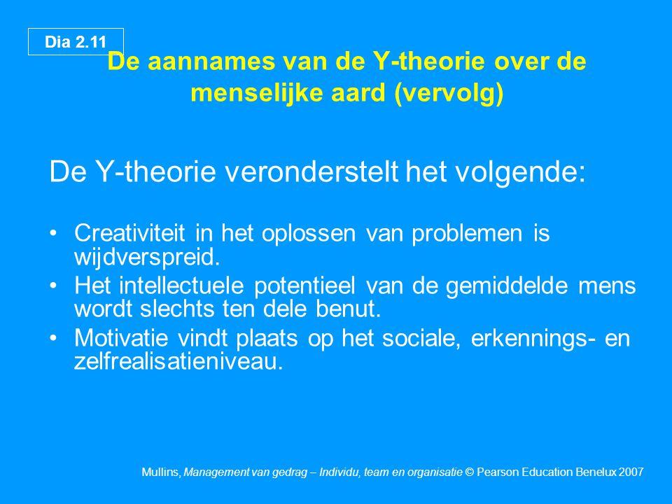 Dia 2.11 Mullins, Management van gedrag – Individu, team en organisatie © Pearson Education Benelux 2007 De aannames van de Y-theorie over de menselij