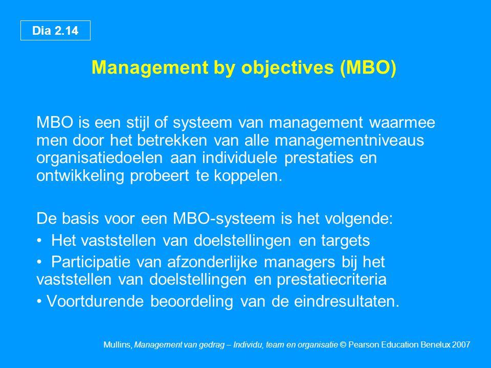 Dia 2.14 Mullins, Management van gedrag – Individu, team en organisatie © Pearson Education Benelux 2007 Management by objectives (MBO) MBO is een stijl of systeem van management waarmee men door het betrekken van alle managementniveaus organisatiedoelen aan individuele prestaties en ontwikkeling probeert te koppelen.