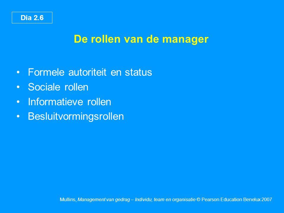 Dia 2.6 Mullins, Management van gedrag – Individu, team en organisatie © Pearson Education Benelux 2007 De rollen van de manager Formele autoriteit en