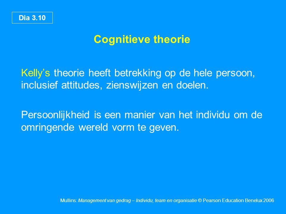 Dia 3.10 Mullins: Management van gedrag – Individu, team en organisatie © Pearson Education Benelux 2006 Cognitieve theorie Kelly's theorie heeft betr