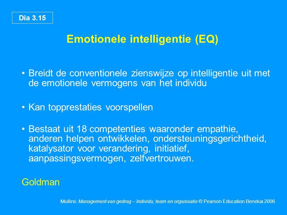 Dia 3.15 Mullins: Management van gedrag – Individu, team en organisatie © Pearson Education Benelux 2006 Emotionele intelligentie (EQ) Breidt de conve
