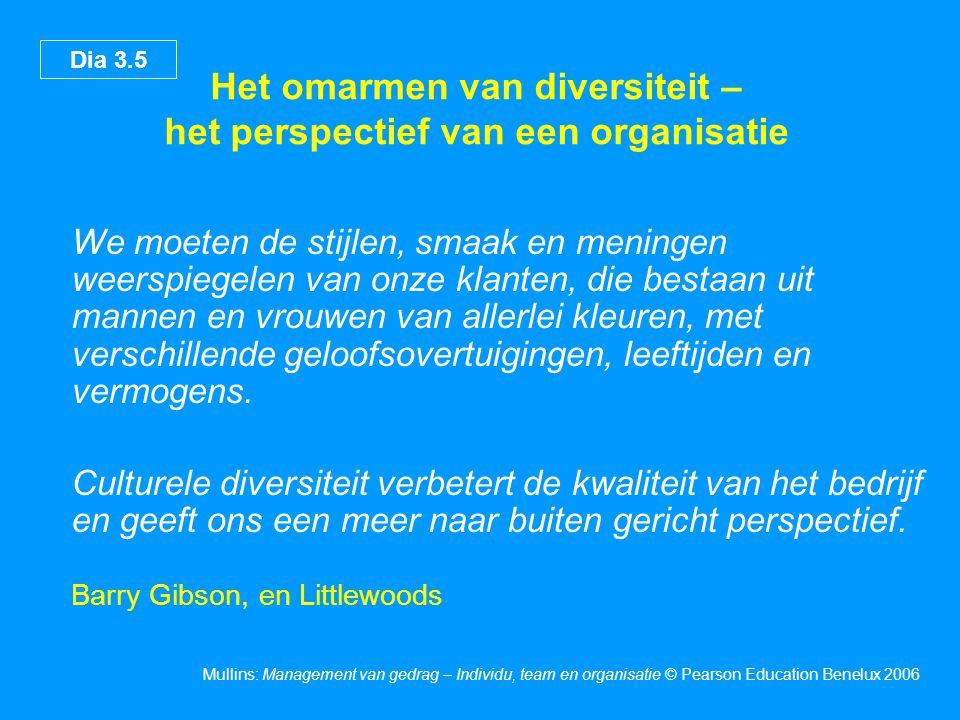 Dia 3.5 Mullins: Management van gedrag – Individu, team en organisatie © Pearson Education Benelux 2006 Het omarmen van diversiteit – het perspectief