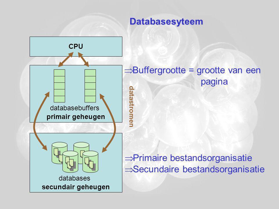Databasesyteem CPU primair geheugen secundair geheugen databasebuffers datastromen databases  Primaire bestandsorganisatie  Secundaire bestandsorganisatie  Buffergrootte = grootte van een pagina