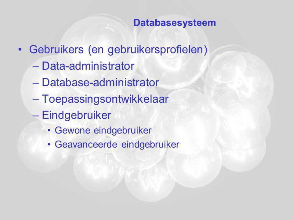 Databasesysteem Gebruikers (en gebruikersprofielen) –Data-administrator –Database-administrator –Toepassingsontwikkelaar –Eindgebruiker Gewone eindgebruiker Geavanceerde eindgebruiker