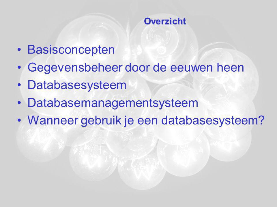 Databasesysteem Data –Records –Recordtypes –Bestanden –Data vormen een geïntegreerd geheel