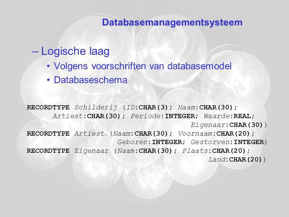 Databasemanagementsysteem –Logische laag Volgens voorschriften van databasemodel Databaseschema RECORDTYPE Schilderij (ID:CHAR(3); Naam:CHAR(30); Artiest:CHAR(30); Periode:INTEGER; Waarde:REAL; Eigenaar:CHAR(30)) RECORDTYPE Artiest (Naam:CHAR(30); Voornaam:CHAR(20); Geboren:INTEGER; Gestorven:INTEGER) RECORDTYPE Eigenaar (Naam:CHAR(30); Plaats:CHAR(20); Land:CHAR(20))