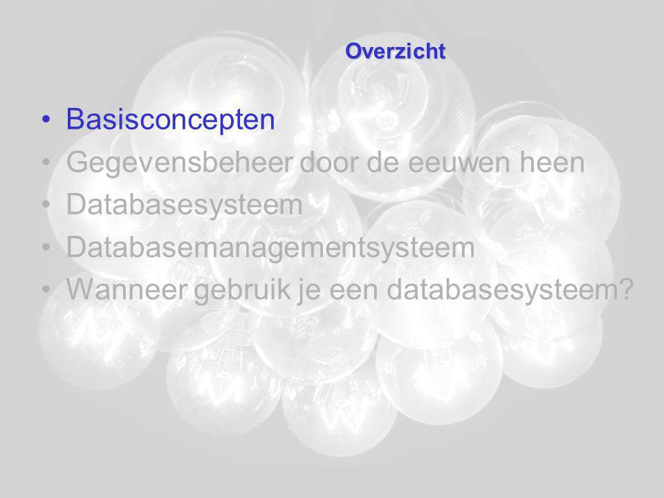 Databasesysteem RECORDTYPE Schilderij (ID:CHAR(3); Naam:CHAR(30); Artiest:CHAR(30); Periode:INTEGER; Waarde:REAL; Eigenaar:CHAR(30)) RECORDTYPE Artiest (Naam:CHAR(30); Voornaam:CHAR(20); Geboren:INTEGER; Gestorven:INTEGER) RECORDTYPE Eigenaar (Naam:CHAR(30); Plaats:CHAR(20); Land:CHAR(20)) IDNaamArtiestPeriodeWaardeEigenaar S01VissershuisMonet1882Boijmans16.000.000 S02De balletlesDegas1872Louvre8.500.000 S03Mona LisaDa Vinci1499Louvre75.000.000 S04Namiddag te OostendeEnsor1881KMSK200.000 NaamVoornaamGeboren Da VinciLeonardo1452 DegasEdgar1834 EnsorJames1860 MonetClaude1840 Gestorven 1519 1917 1949 1926 NaamPlaatsLand BoijmansRotterdamNederland LouvreParijsFrankrijk KMSKAntwerpenBelgië