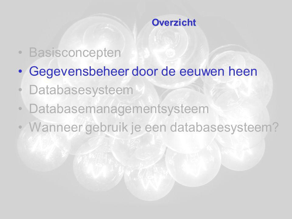 Databasesysteem –Datawarehousing –Software voor data-analyse –Rapportgeneratoren