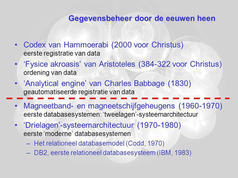 Gegevensbeheer door de eeuwen heen Codex van Hammoerabi (2000 voor Christus) eerste registratie van data 'Fysice akroasis' van Aristoteles (384-322 voor Christus) ordening van data 'Analytical engine' van Charles Babbage (1830) geautomatiseerde registratie van data Magneetband- en magneetschijfgeheugens (1960-1970) eerste databasesystemen: 'tweelagen'-systeemarchitectuur 'Drielagen'-systeemarchitectuur (1970-1980) eerste 'moderne' databasesystemen –Het relationeel databasemodel (Codd, 1970) –DB2, eerste relationeel databasesysteem (IBM, 1983)