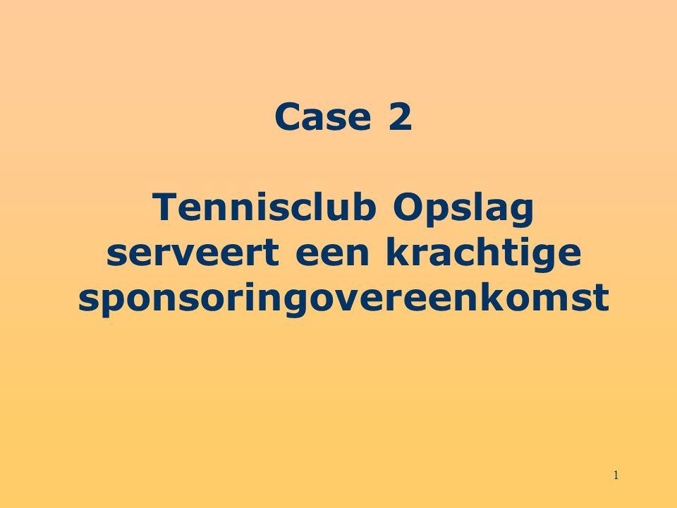 1 Case 2 Tennisclub Opslag serveert een krachtige sponsoringovereenkomst