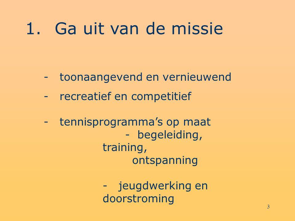 3 1.Ga uit van de missie - toonaangevend en vernieuwend - recreatief en competitief - tennisprogramma's op maat - begeleiding, training, ontspanning - jeugdwerking en doorstroming