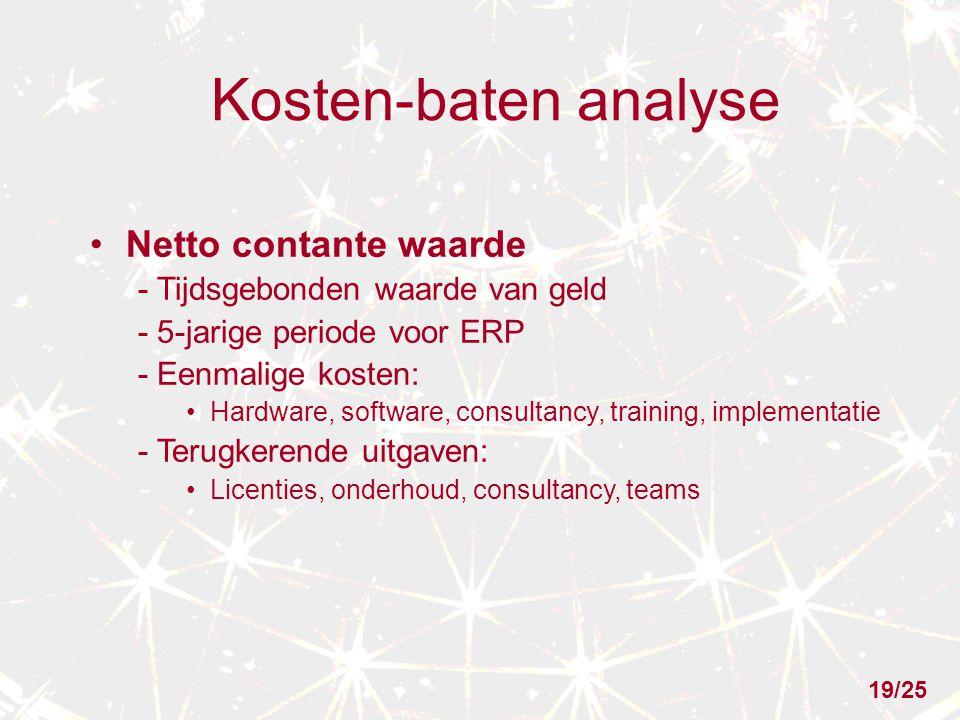 Kosten-baten analyse Netto contante waarde - Tijdsgebonden waarde van geld - 5-jarige periode voor ERP - Eenmalige kosten: Hardware, software, consultancy, training, implementatie - Terugkerende uitgaven: Licenties, onderhoud, consultancy, teams 19/25